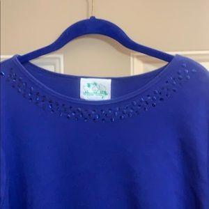 QF short sleeve tee w/sequins. Like new. 1X